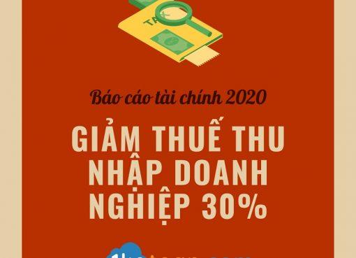 Lưu quan trọng cho kỳ Báo cáo tài chính 2020: Giảm 30% thuế thu nhập doanh nghiệp